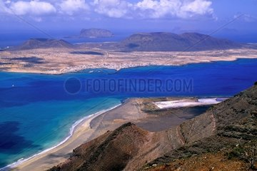 Aerial view of Graciosa Island in the Canary Islands