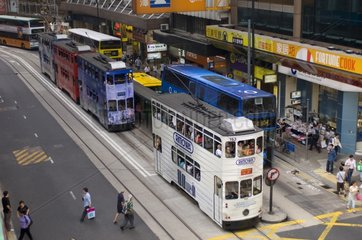 Buses on Des Voeux road Central district Hong Kong Chine