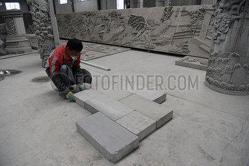 CHINA-GANSU-Linxia-Bricks SCHNITZT (CN)