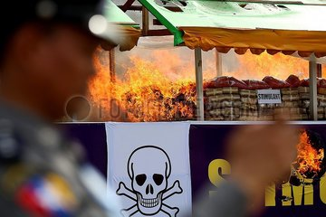 MYANMAR-YANGON-DRUG DESTRUCTION