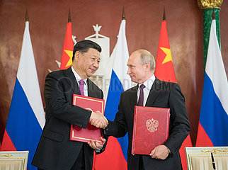 RUSSIA-MOSCOW-CHINA-XI JINPING-VLADIMIR PUTIN-TALKS