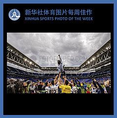 (SP)XINHUA SPORTS PHOTO OF THE WEEK La Liga  partido entre el RCD Espanyol y la Real Sociedad.