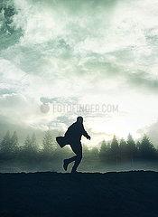 Silhouette eines Mannes p984m2072777