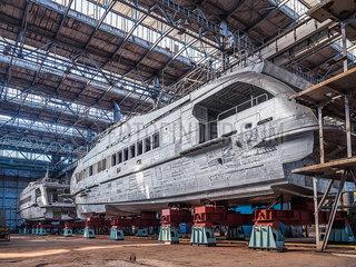 Schiffsbau in einer Schiffswerft p390m2076207