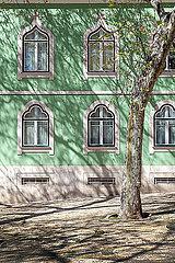 Gruene Fassade in Lissabon