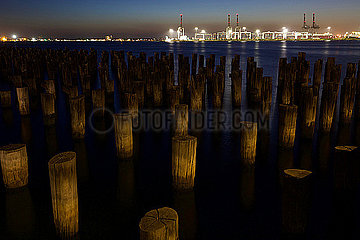 Princes Pier bei Sonnenuntergang