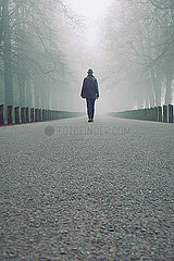 Rearview man walking along foggy road through trees