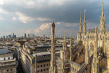 Italy  Milan  pinnacles and spires of Milan Cathedral and cityscape
