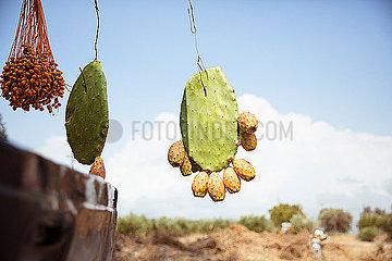 Kaktusfeigen haengen am Auto von einem Strassenhaendler
