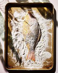 Fisch mit Mehl bedeckt p1397m2076452