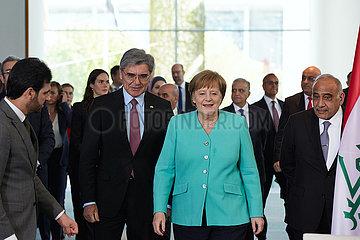 Berlin  Deutschland - Joe Kaeser  Angela Merkel und Adel Abdul-Mahdi.