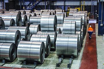 ThyssenKrupp Steel  Stahlcoils  Duisburg  Ruhrgebiet  Nordrhein-Westfalen  Deutschland  Europa