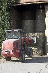 Gestuet Goerlsdorf  Heuballen werden mit einem Traktor in einer Scheune abgeladen