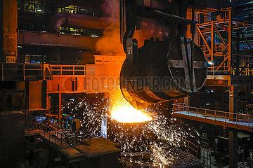 ThyssenKrupp Steel  Stahlwerk  Duisburg  Ruhrgebiet  Nordrhein-Westfalen  Deutschland  Europa
