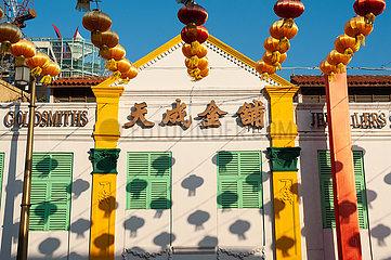 Singapur  Republik Singapur  Bunte Lampions in Chinatown