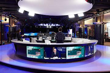 Bruessel  Region Bruessel-Hauptstadt  Belgien - Fernsehstudio zur Berichterstattung aus dem Europaparlament.