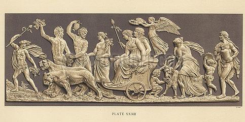 Plaque depicting the triumph of Bacchus and Ariadne.
