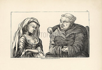 Lustful priest listening to a wench's confession while leering at her bosom.