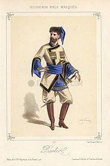 Man in costume as a Bashkir (Baskir) for a masquerade ball.