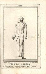 Statue of an Egyptian male figure in headdress.