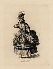 Fashionable woman in drape skirt  era of Marie Antoinette.