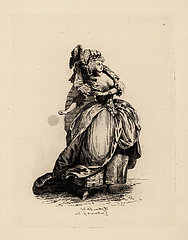 Woman in grand hairstyle and dress  era of Marie Antoinette.