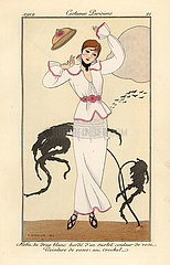 Woman in white wool dress with pink trim losing her hat.