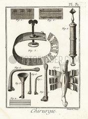 18th century sutures  tourniquet  syringe and bandages.