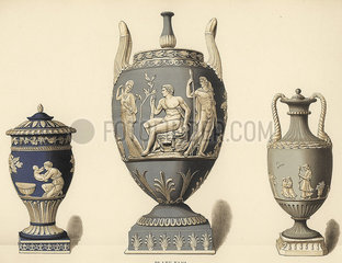 Vases with reliefs.