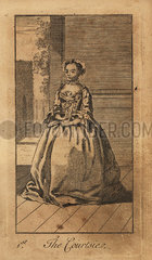 Young lady curtsying on a street  18th century.