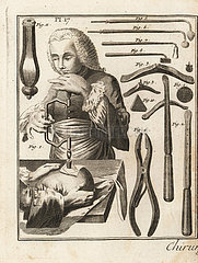 18th century surgeon performing a trepanning operation on a man's head.