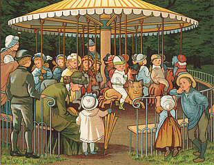 Victorian children on a carousel in the Champs Elysees  Paris  France.