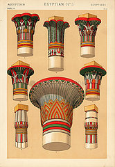 Egyptian ornaments to capitals of columns showing papyrus and palm leaves.