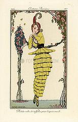 Woman in yellow taffeta afternoon dress.