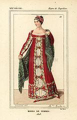 Evening ball gown  Napoleonic era  1808.