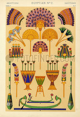 Egyptian decorations featuring feather  palm leaf  and lotus designs.