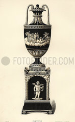 Vase and pedestal decorated with Cupids and the seasons.