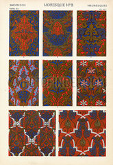 Varieties of Moorish lozenge diapers from the Alhambra  Granada  Spain.