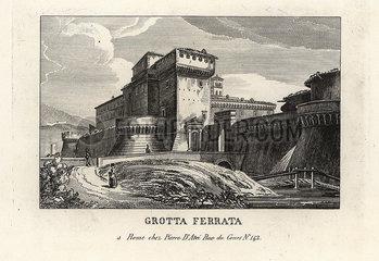 View of the Roman castle town of Grottaferrata  Rome  1849.