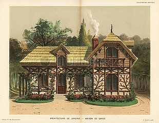Garden architecture: guard house with rose trellis and thatched roof.