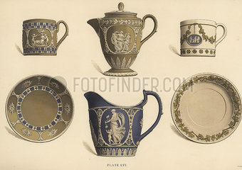 Chocolate pot  vase  cup and saucer.