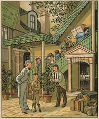 Victorian family checking into a hotel in Caen  Normandy.
