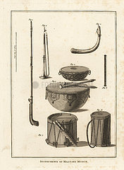 Military musical instruments: trumpet  horn  fife  kettle drum  side drum.
