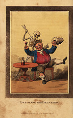 Skeleton of death aiming a dart at a corpulent man drinking wine.