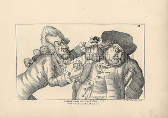 Caricature of the English betrayal by the French in Paris  1762.