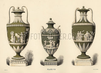 Three vases showing reliefs.