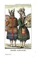Khakas or Khakass shamans from Saygachi  near Krasnoyarsk  Siberia.