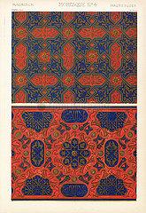 Varieties of Moorish square diapers from the Alhambra  Granada  Spain.