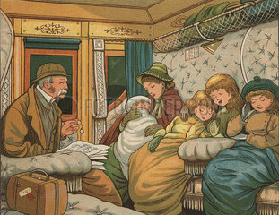 Victorian family in a carriage on the train from Paris to Calais  France.