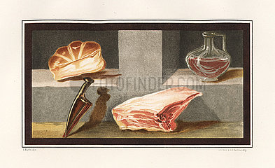Painting of a still life showing meat  wine  bread and a knife from Pompeii.